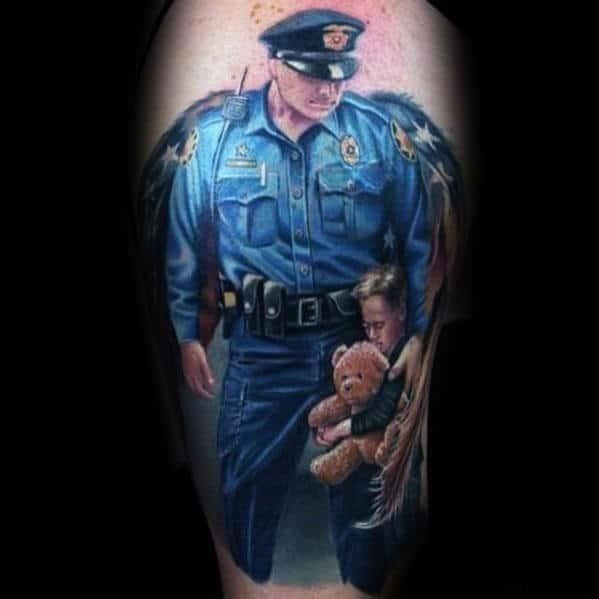 Guys police officer with wings with child arm tattoo