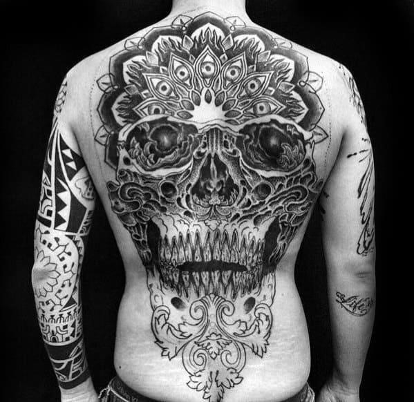 Guys skull back tattoo designs
