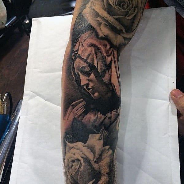 Guys sleeves lovely religious tattoo
