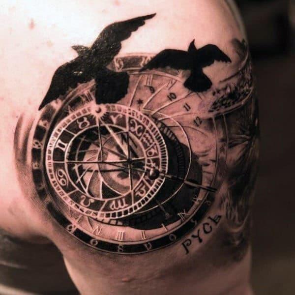 Guys vintage compass tattoos