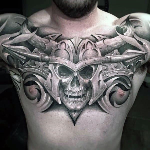 Guys warrior skull helmet upper chest tattoos