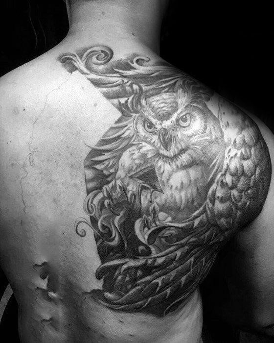 Half back mens owl tattoo with ornate design