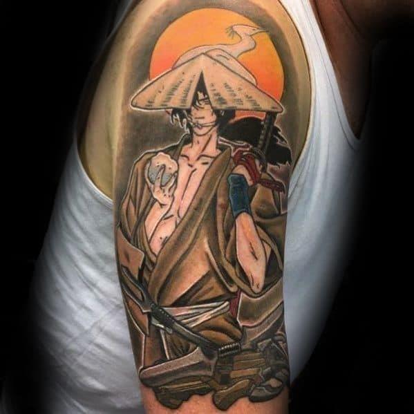 Half sleeve anime tattoos guys