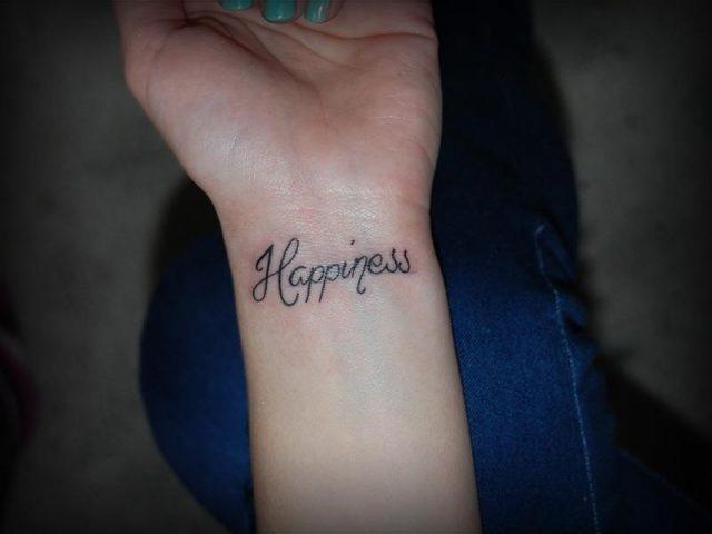Happiness word wrist tattoo