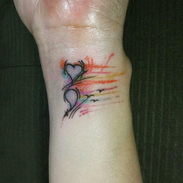 Heart watercolor highlights semicolon tattoo