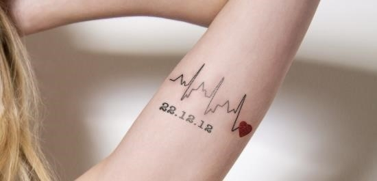 Heartbeat tattoo with date