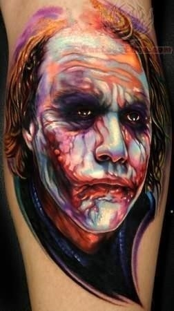 Heath joker face tattoo