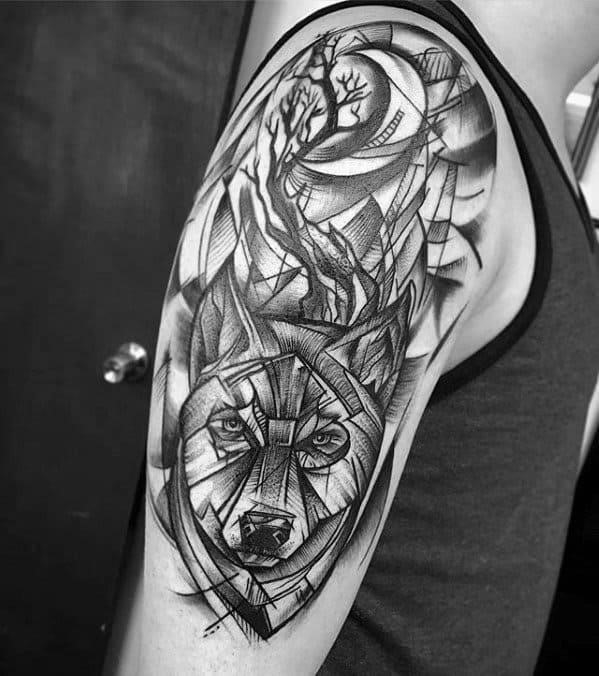 Hlaf sleeve sketched guys tattoos with sick wolf design