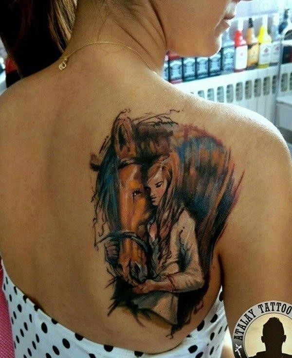 Horse and girl tattoo on back1