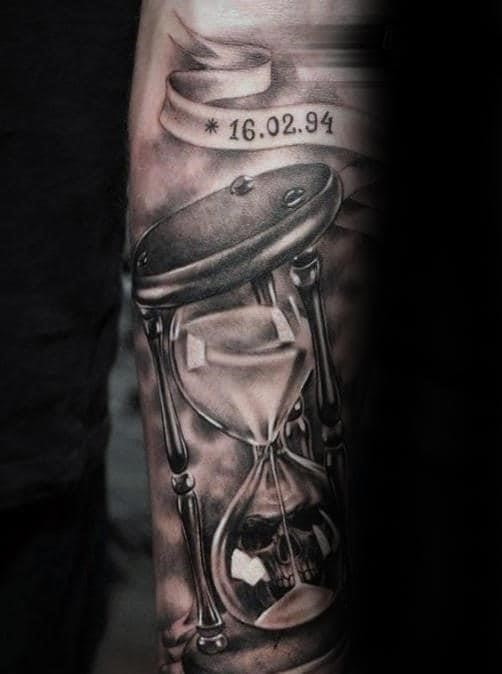 Hourglass life and death male 3d realistic tattoo sleeve ideas