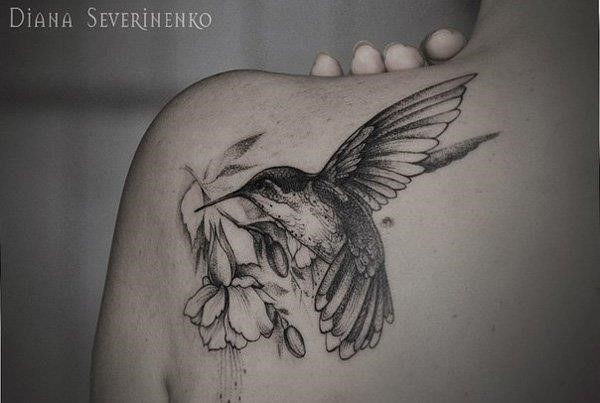 Hummingbird drawing tattoo 52