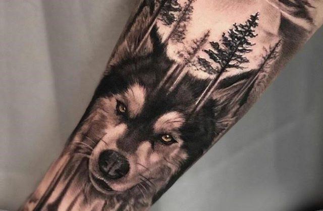 Husky arm design tattoo