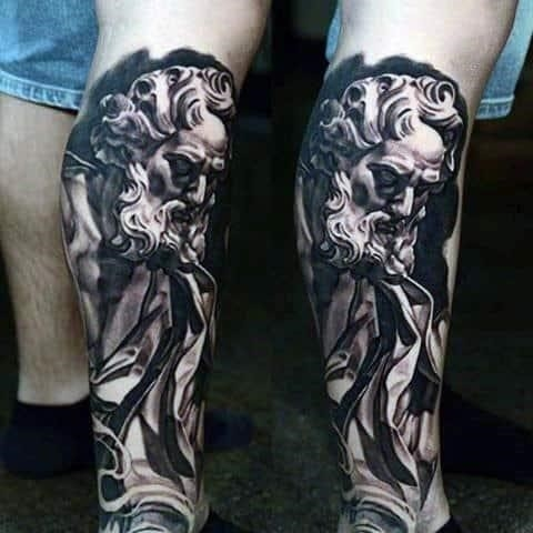 Incredible christian tattoo for mens leg sleeve