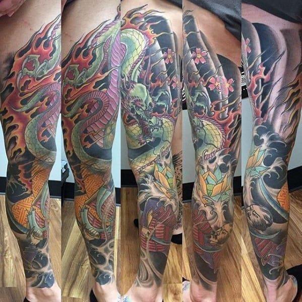 Japanese dragon full leg sleeve mens tattoos