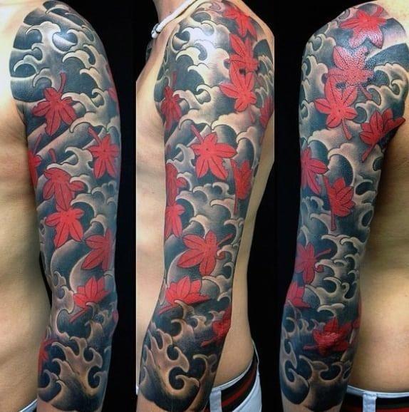 Japanese maple leaf mens full sleeve tattoo ideas