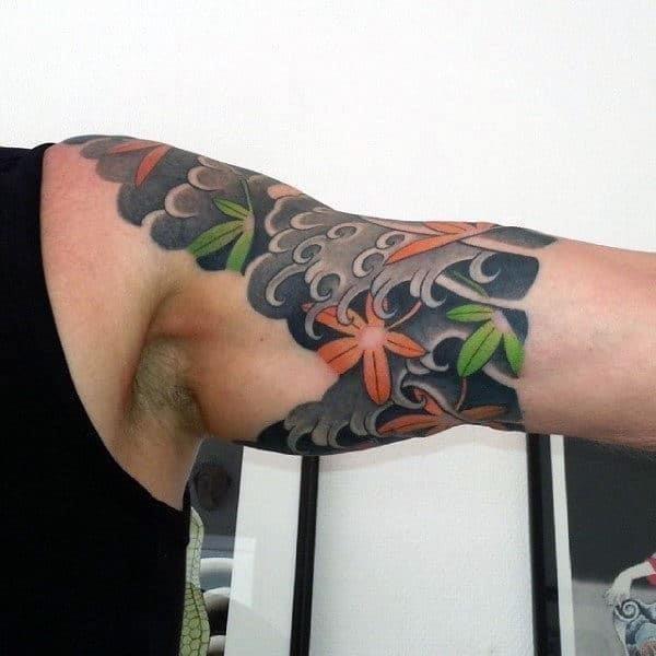 Japanese quarter sleeve male maple leaf tattoo ideas