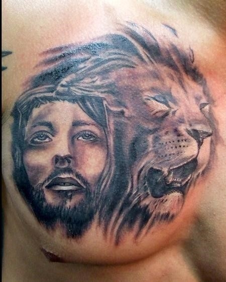 Jesus and lion tattoo designs on chest