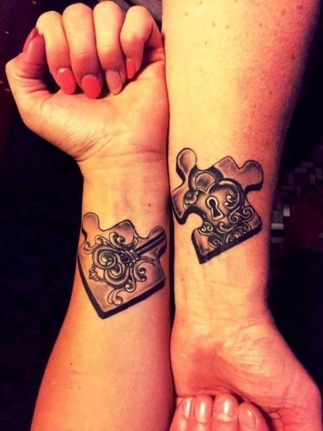 Jigsaw puzzle pieces lock key wrist tattoos cute matching tattoos