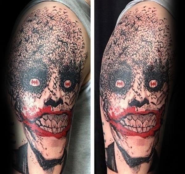 Joker with bats mens arm tattoo deisgns