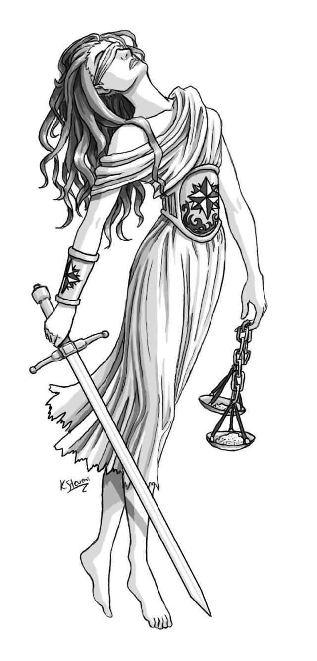 Justice girl with dagger and balance tattoo design