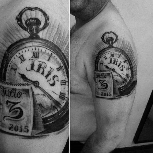 Kids name iris pocket watch with calender birthday mens upper arm tattoo