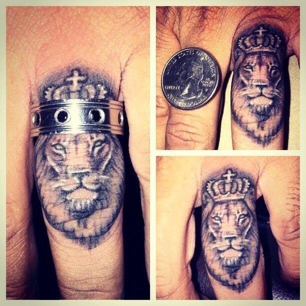 King lion finger tattoo for men