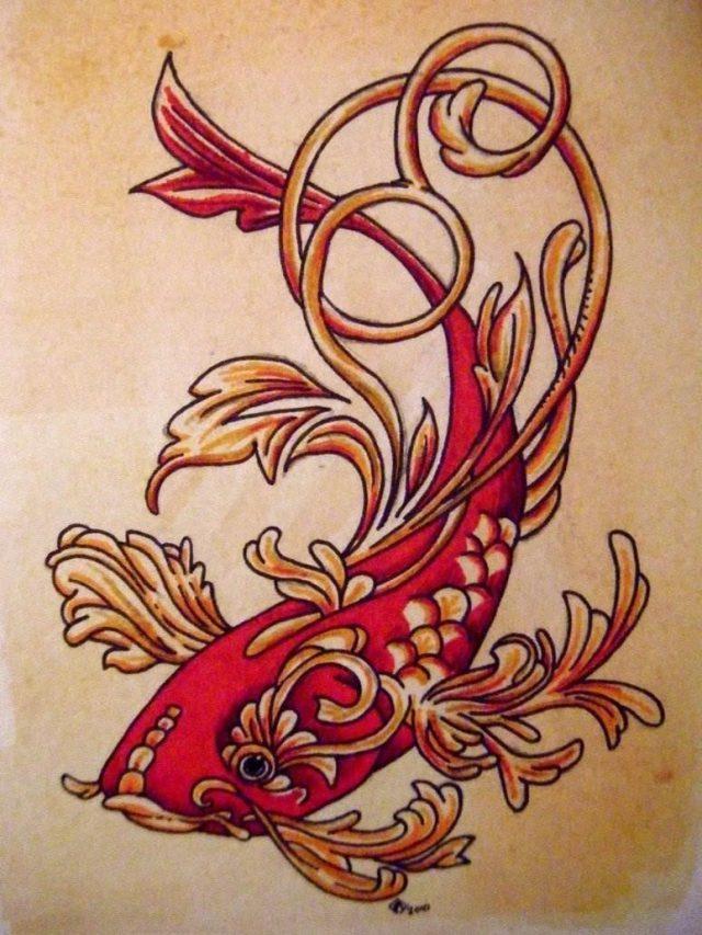 Koi fish tattoo design nature water beautiful decorative animal red