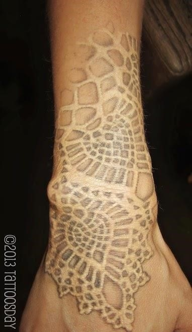 Lace tattoo white ink1