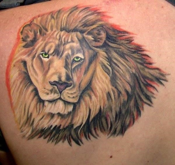 Latest back shoulder lion head tattoo