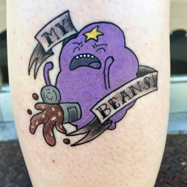 Leg adventure time tattoo on men