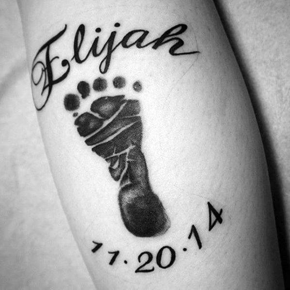 Leg calf male kids name tattoo design ideas
