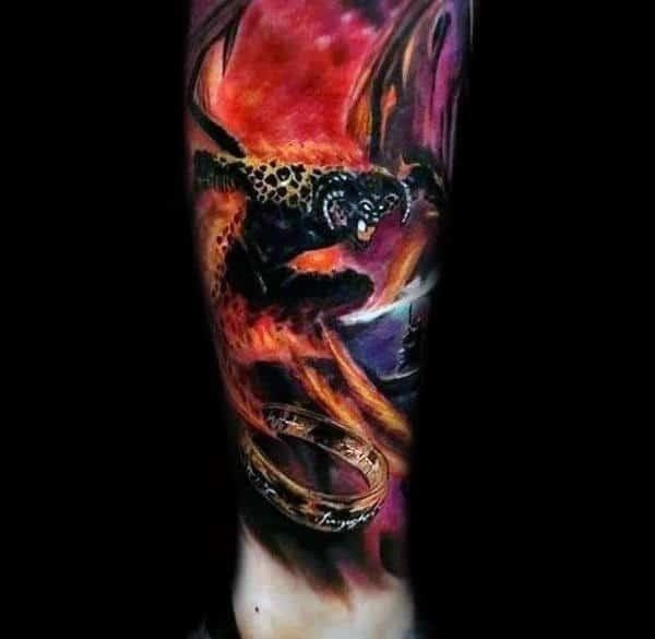 Leg sleeve lord of the rings male tattoos