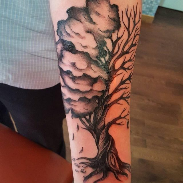 Life and death tree tattoo