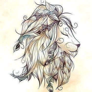 Lion head tattoo drawing 59