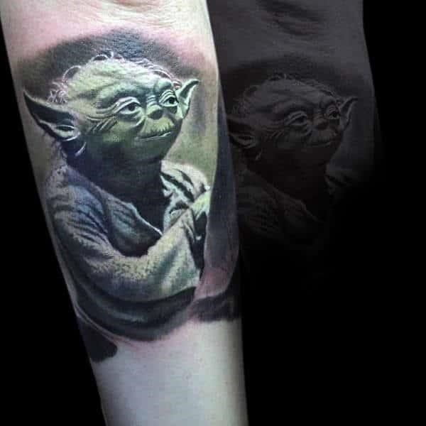 Long eared green alien tattoo star wars male forearms