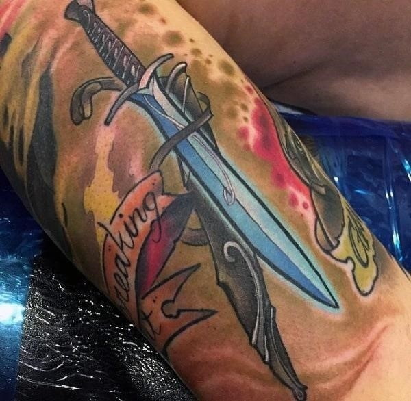 Lord of the rings sword mens arm tattoos