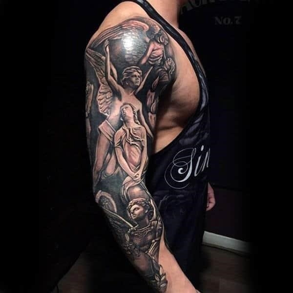 Lovely angels religious tattoo male full sleeves