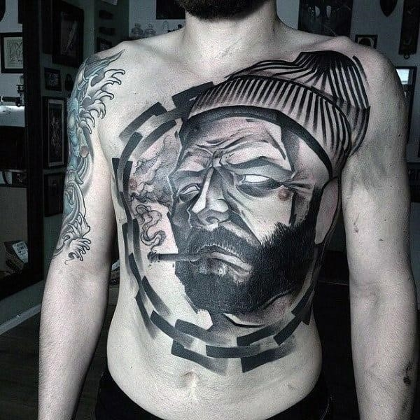 Lumberjack stomach tattoo designs for guys with chain idea