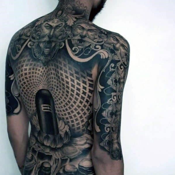 Male 3d geometric back tattoo ideas