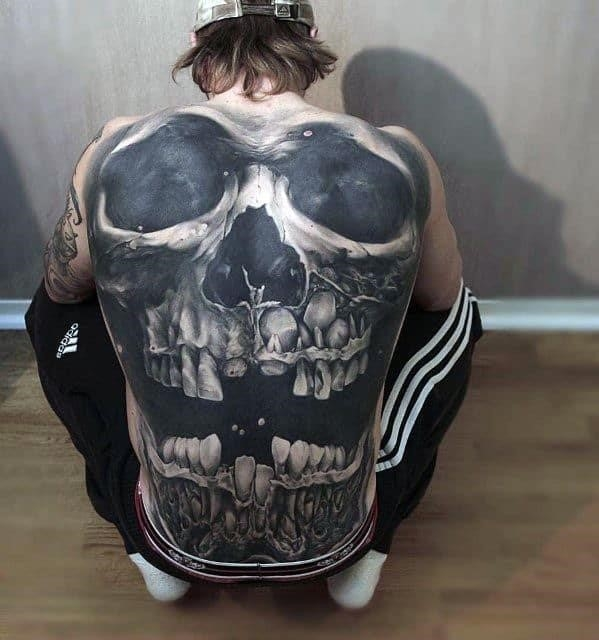Male 3d skull back tattoo design inspiration