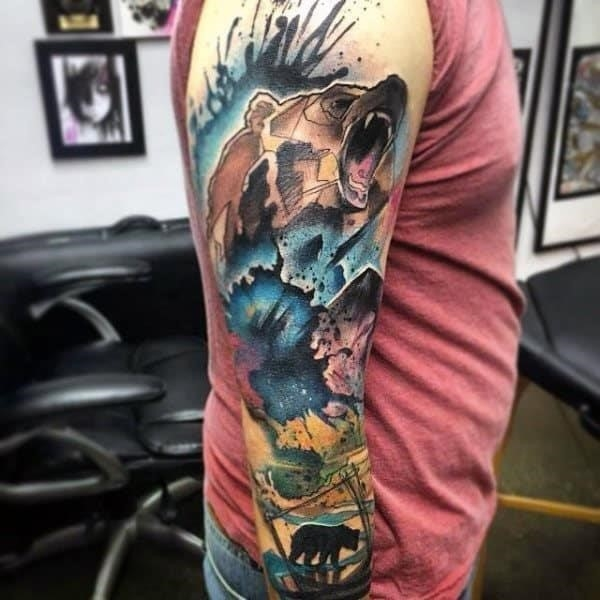 Male bears tattoo sleeve