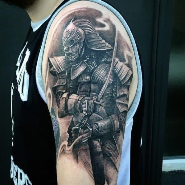 Male biceps impressive warrior tattoo