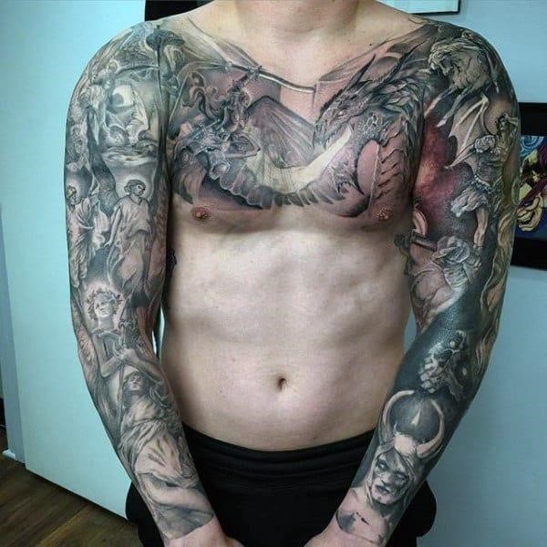 Male chest sleeves religious tattoo
