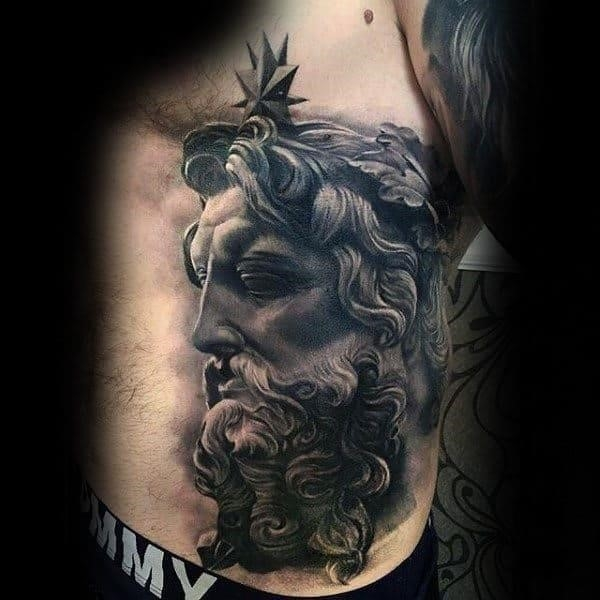 Male side ribs sick old bearded man tattoos