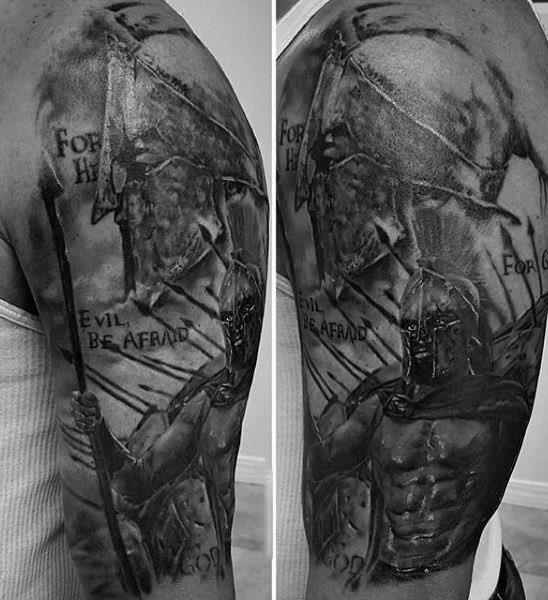 Males sleeves warrior with long katana tattoo