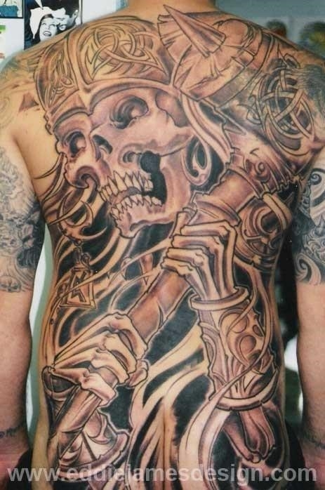 Man back body viking tattoo