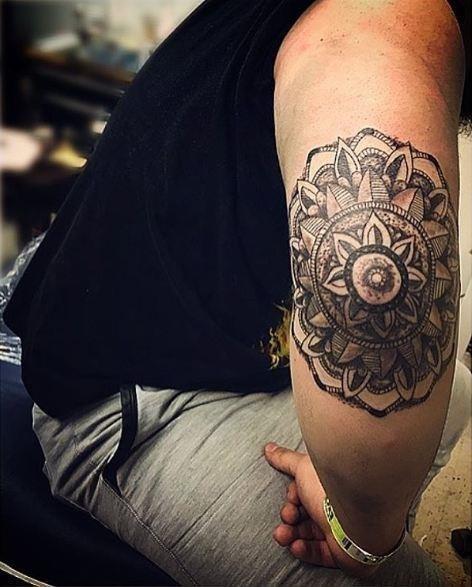 Mandala elbow tattoos