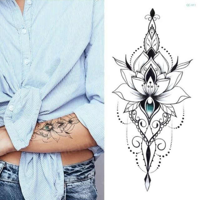 Mandala lotus flower tattoo mehndi henna stickers for hands sexy arab tattoo black sketches tattoo designs