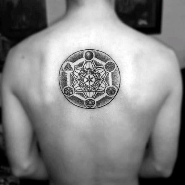 Manly geometric back tattoo design ideas for men