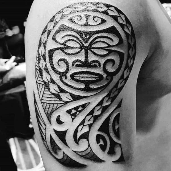 Manly polynesian guys upper arm tribal tattoos